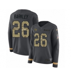 Women's Nike New York Giants #26 Saquon Barkley Limited Black Salute to Service Therma Long Sleeve NFL Jersey