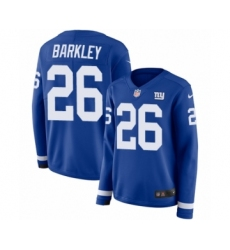 Women's Nike New York Giants #26 Saquon Barkley Limited Royal Blue Therma Long Sleeve NFL Jersey