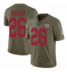 Youth Nike New York Giants #26 Saquon Barkley Limited Olive 2017 Salute to Service NFL Jersey