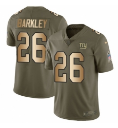 Youth Nike New York Giants #26 Saquon Barkley Limited Olive Gold 2017 Salute to Service NFL Jersey
