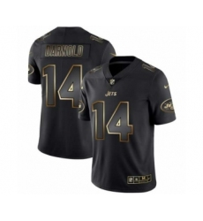 Men New York Jets #14 Sam Darnold Black Golden Edition 2019 Vapor Untouchable Limited Jersey