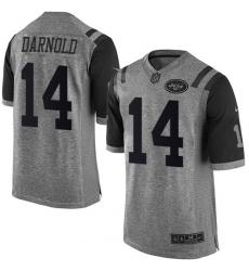 Men's Nike New York Jets #14 Sam Darnold Limited Gray Gridiron NFL Jersey
