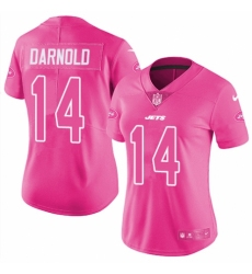 Women's Nike New York Jets #14 Sam Darnold Limited Pink Rush Fashion NFL Jersey