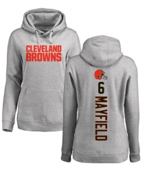 NFL Women's Nike Cleveland Browns #6 Baker Mayfield Ash Pullover Hoodie