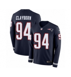 Men's Nike New England Patriots #94 Adrian Clayborn Limited Navy Blue Therma Long Sleeve NFL Jersey
