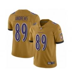 Men's Baltimore Ravens #89 Mark Andrews Limited Gold Inverted Legend Football Jersey