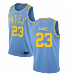Men's Nike Los Angeles Lakers #23 LeBron James Authentic Blue Hardwood Classics NBA Jersey