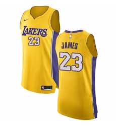 Men's Nike Los Angeles Lakers #23 LeBron James Authentic Gold NBA Jersey - Icon Edition