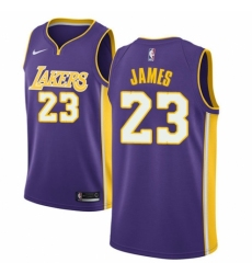 Men's Nike Los Angeles Lakers #23 LeBron James Authentic Purple NBA Jersey - Statement Edition