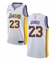 Men's Nike Los Angeles Lakers #23 LeBron James Authentic White NBA Jersey - Association Edition