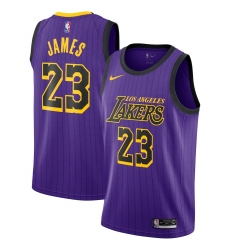 Women's Nike Los Angeles Lakers #23 LeBron James Swingman Purple stripe NBA Jersey