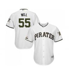 Men's Pittsburgh Pirates #55 Josh Bell Replica White Alternate Cool Base Baseball Jersey