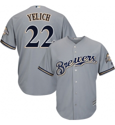 Men's Milwaukee Brewers #22 Christian Yelich Grey New Cool Base Stitched MLB Jersey
