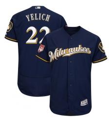 Men's Milwaukee Brewers #22 Christian Yelich Navy 2019 Spring Training Flex Base Stitched MLB Jersey