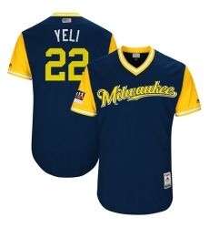 Men's Milwaukee Brewers #22 Christian Yelich Navy Yeli Players Weekend Authentic Stitched MLB Jersey