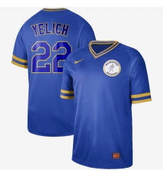Men's Milwaukee Brewers #22 Christian Yelich Nike Cooperstown Collection Legend V-Neck Jersey Blue