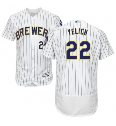 Men's Milwaukee Brewers #22 Christian Yelich White Strip Flexbase Authentic Collection Stitched MLB Jersey