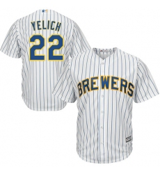 Men's Milwaukee Brewers #22 Christian Yelich White(Blue Strip) New Cool Base Stitched MLB Jersey