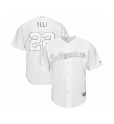 Men's Milwaukee Brewers #22 Christian Yelich  Yeli  Authentic White 2019 Players Weekend Baseball Jersey