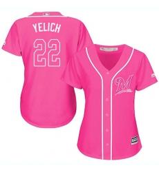 Women's Milwaukee Brewers #22 Christian Yelich Pink Fashion Stitched MLB Jersey