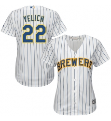 Women's Milwaukee Brewers #22 Christian Yelich White Strip Home Stitched MLB Jersey