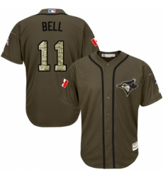 Men's Majestic Toronto Blue Jays #11 George Bell Authentic Green Salute to Service MLB Jersey