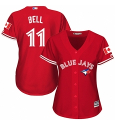Women's Majestic Toronto Blue Jays #11 George Bell Authentic Scarlet Alternate MLB Jersey