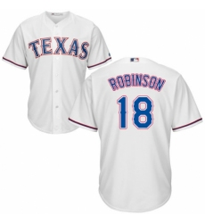 Youth Majestic Texas Rangers #18 Drew Robinson Authentic White Home Cool Base MLB Jersey