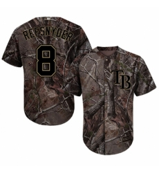 Youth Majestic Tampa Bay Rays #8 Rob Refsnyder Authentic Camo Realtree Collection Flex Base MLB Jersey