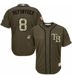 Youth Majestic Tampa Bay Rays #8 Rob Refsnyder Authentic Green Salute to Service MLB Jersey