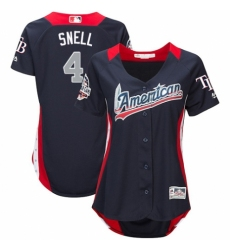 Women's Majestic Tampa Bay Rays #4 Blake Snell Game Navy Blue American League 2018 MLB All-Star MLB Jersey