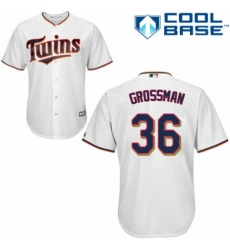 Men's Majestic Minnesota Twins #36 Robbie Grossman Replica White Home Cool Base MLB Jersey