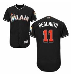 Men's Majestic Miami Marlins #11 J. T. Realmuto Black Alternate Flex Base Authentic Collection MLB Jersey