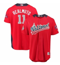 Men's Majestic Miami Marlins #11 J. T. Realmuto Game Red National League 2018 MLB All-Star MLB Jersey