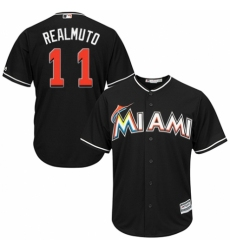 Men's Majestic Miami Marlins #11 J. T. Realmuto Replica Black Alternate 2 Cool Base MLB Jersey