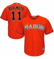 Men's Majestic Miami Marlins #11 J. T. Realmuto Replica Orange Alternate 1 Cool Base MLB Jersey