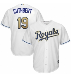 Men's Majestic Kansas City Royals #19 Cheslor Cuthbert Replica White Home Cool Base MLB Jersey