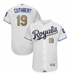 Men's Majestic Kansas City Royals #19 Cheslor Cuthbert White Flexbase Authentic Collection MLB Jersey