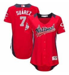 Women's Majestic Cincinnati Reds #7 Eugenio Suarez Game Red National League 2018 MLB All-Star MLB Jersey