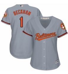Women's Majestic Baltimore Orioles #1 Tim Beckham Replica Grey Road Cool Base MLB Jersey