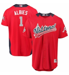 Youth Majestic Atlanta Braves #1 Ozzie Albies Game Red National League 2018 MLB All-Star MLB Jersey