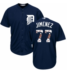 Men's Majestic Detroit Tigers #77 Joe Jimenez Authentic Navy Blue Team Logo Fashion Cool Base MLB Jersey