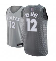 Men NBA 2018-19 Minnesota Timberwolves #12 C J  Williams City Edition Gray Jersey