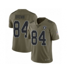 Youth Oakland Raiders #84 Antonio Brown Limited Olive 2017 Salute to Service Football Jersey