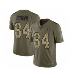 Youth Oakland Raiders #84 Antonio Brown Limited Olive Camo 2017 Salute to Service Football Jersey