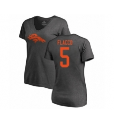 Football Women's Denver Broncos #5 Joe Flacco Ash One Color T-Shirt