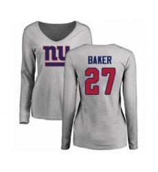 Football New York Giants #27 Deandre Baker Red Name & Number Logo Long Sleeve T-Shirt