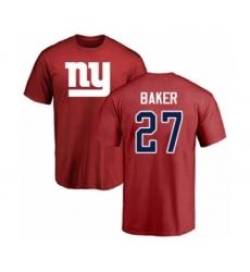 Football New York Giants #27 Deandre Baker Red Name & Number Logo T-Shirt