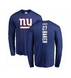 Football New York Giants #27 Deandre Baker Royal Blue Backer Long Sleeve T-Shirt
