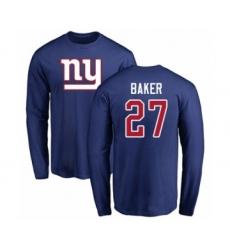 Football New York Giants #27 Deandre Baker Royal Blue Name & Number Logo Long Sleeve T-Shirt